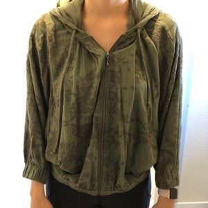 Anthropologie zip up jacket with hood size medium